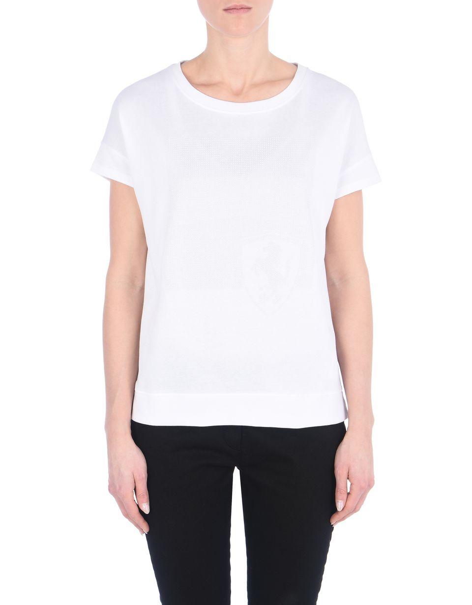 Scuderia Ferrari Online Store - T-Shirt mit U-Boot-Ausschnitt aus Jersey-/Baumwollmischung - Kurzärmelige T-Shirts