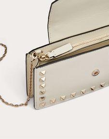 Rockstud Calfskin Phone Case with Chain Strap