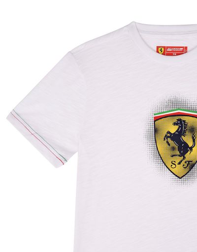Scuderia Ferrari Online Store - Scuderia Ferrari T-shirt for teens with a yellow Shield - Short Sleeve T-Shirts