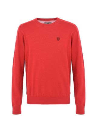 Scuderia Ferrari Online Store - Long-sleeve sweater in Italian cotton yarn - Crew Neck Jumpers