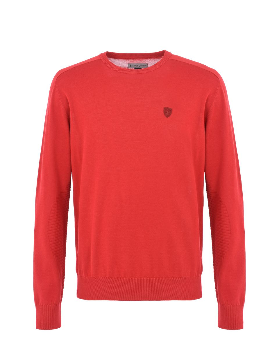 Scuderia Ferrari Online Store - Long-sleeve sweater in Italian cotton yarn - Crew Neck Sweaters