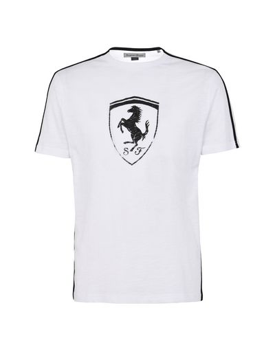 Scuderia Ferrari Online Store - Men's crewneck T-shirt with Shield - Short Sleeve T-Shirts