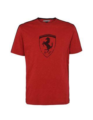 Scuderia Ferrari Online Store - Men's crewneck T-shirt with Shield - Short Sleeve T-Shirts