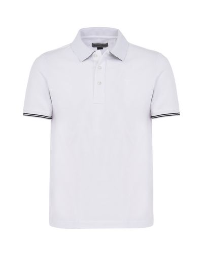 Scuderia Ferrari Online Store - Men's short-sleeve polo shirt in stretch piqué cotton - Short Sleeve Polos