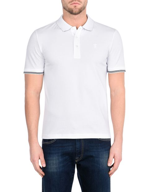 Men's short-sleeve polo shirt in stretch piqué cotton