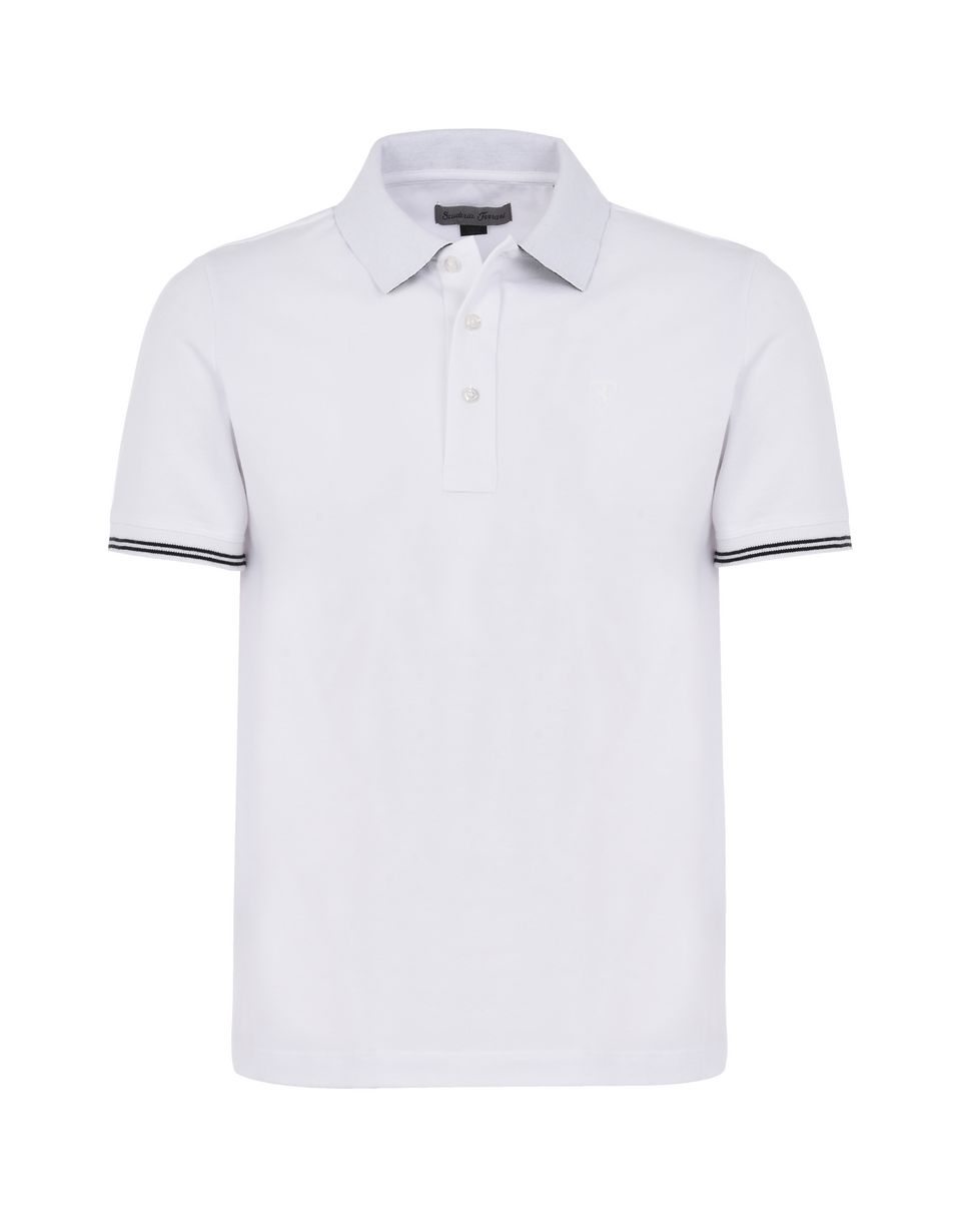 Scuderia Ferrari Online Store - Men's short-sleeve polo shirt in stretch piqué cotton - Short Sleeve Polos