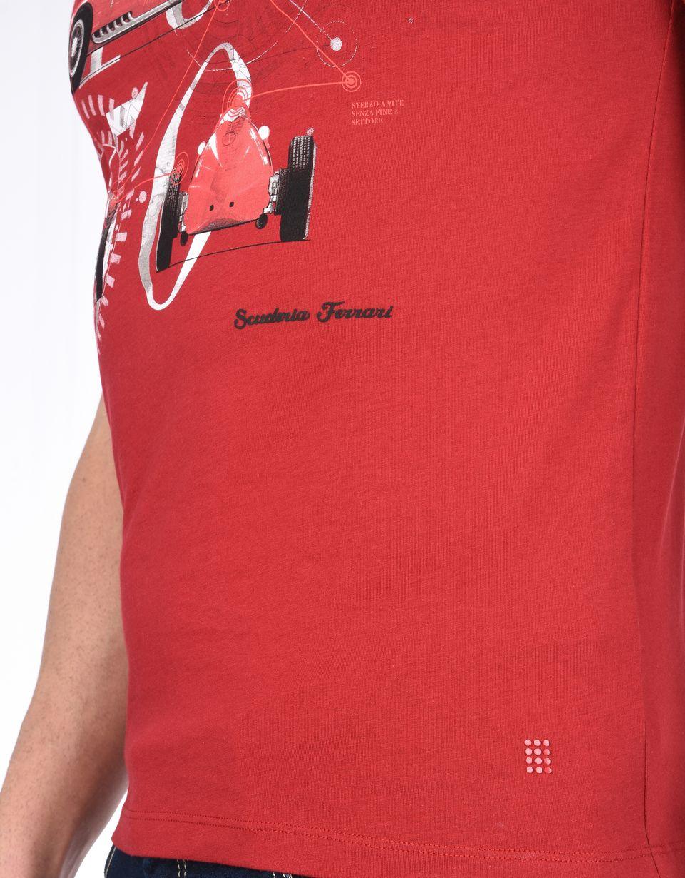 Scuderia Ferrari Online Store - Men's Scuderia Ferrari crewneck T-shirt with Formula 1 print - Short Sleeve T-Shirts