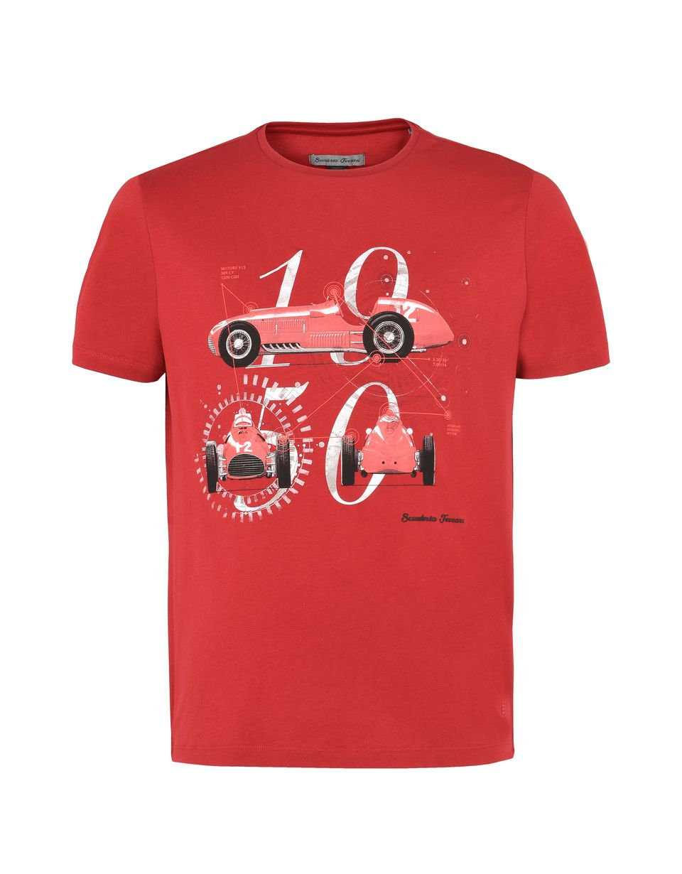 Scuderia Ferrari Online Store - Men's Scuderia Ferrari crewneck T-shirt with Formula 1 print -