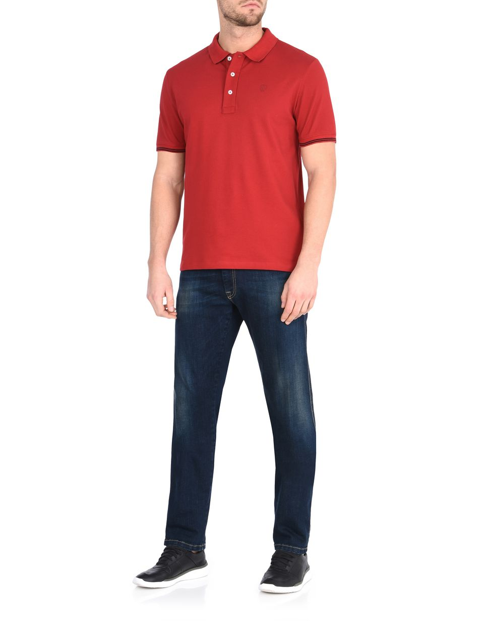 Scuderia Ferrari Online Store - Men's short-sleeve polo shirt in stretch piqué cotton -