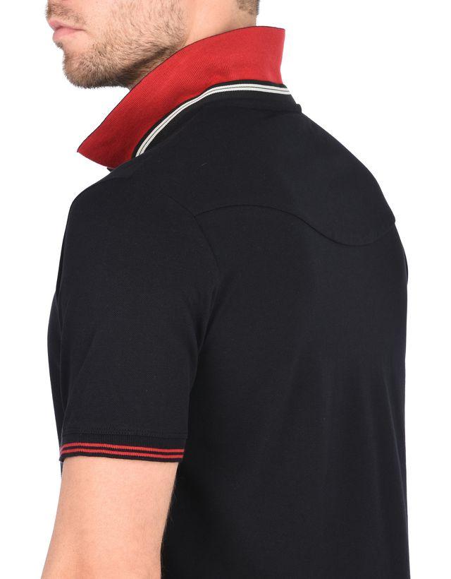 Scuderia Ferrari Online Store - Мужская поло с короткими рукавами из хлопкового пике стрейч - Поло с короткими рукавами
