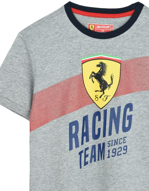 "Scuderia Ferrari Online Store - Camiseta de algodón para chico con estampado ""Racing team"" - Camisetas de manga corta"