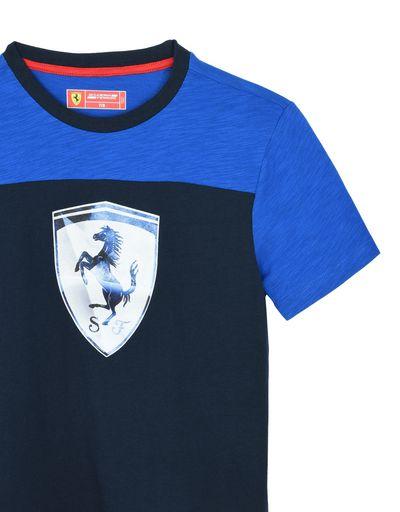 Scuderia Ferrari Online Store - Two-tone T-shirt for teens in slub jersey - Short Sleeve T-Shirts