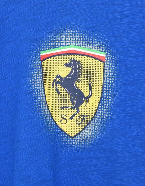 Scuderia Ferrari Online Store - Футболка для детей Scuderia Ferrari с жёлтой эмблемой Scudetto Ferrari - Футболки с короткими рукавами