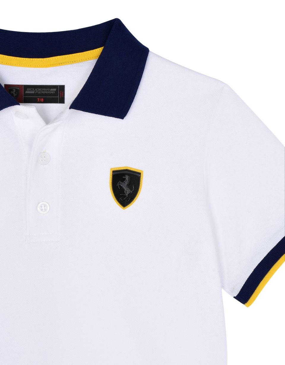 Scuderia Ferrari Online Store - Polo shirt for teens with Shield and yellow detailing - Short Sleeve Polos