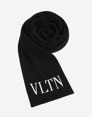 VALENTINO SETA VLTN knitted scarf  Black LANA VERGINE 46563931RV