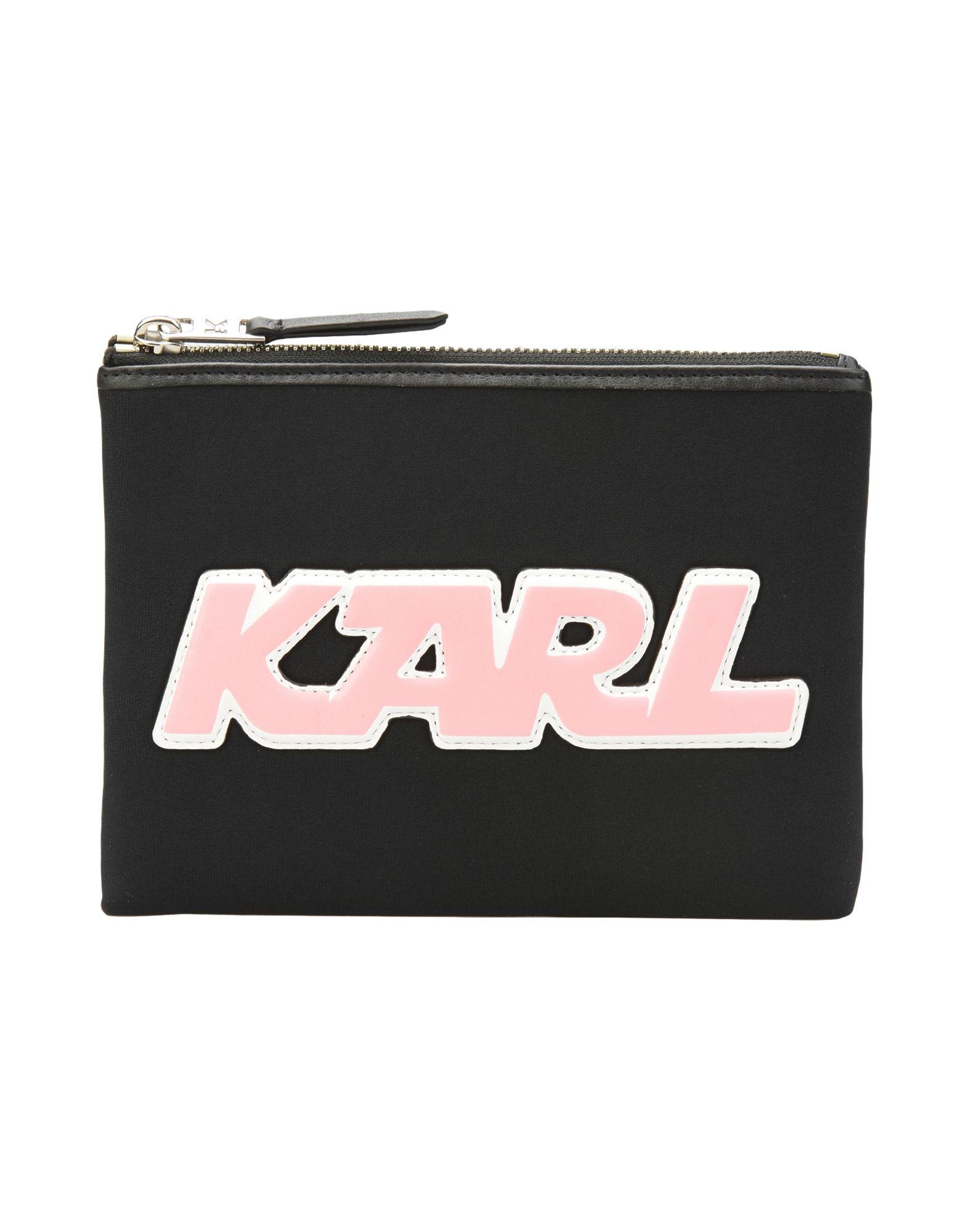 《セール開催中》KARL LAGERFELD レディース ポーチ ブラック ネオプレーン 100%