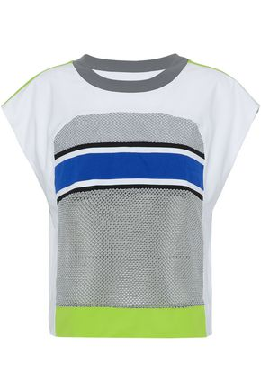 NO KA 'OI Striped mesh-paneled jersey top