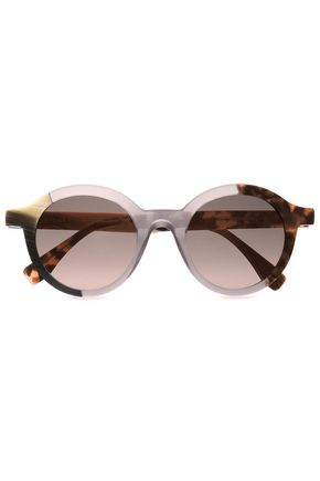 FENDI Round-frame printed acetate sunglasses
