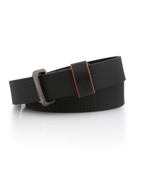 Women's leather belt with carbon fibre effect
