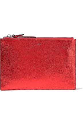 IRO Metallic cracked-leather pouch