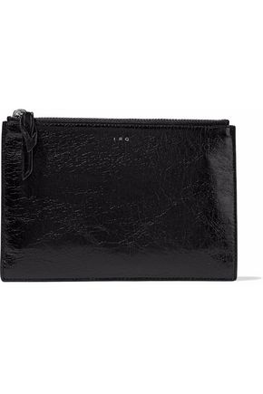 WOMAN GLOSSED CRACKED-LEATHER POUCH BLACK