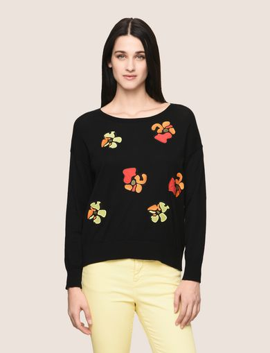 ABSTRACT FLORAL CREWNECK SWEATER
