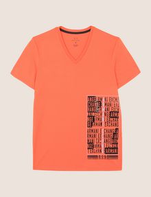 ARMANI EXCHANGE PLACED PRINT TICKER V-NECK Logo T-shirt Man r