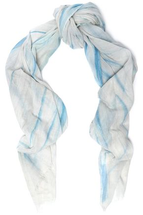 MAJE Frayed cotton-gauze scarf
