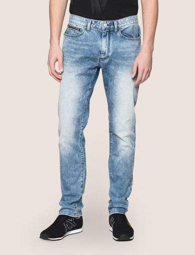 TAPERED FIT ZIP DETAIL ACID JEANS