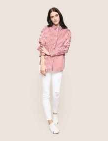 ARMANI EXCHANGE DROP-SHOULDER OVERSIZED SHIRT Striped Shirt Woman d