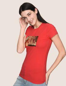 ARMANI EXCHANGE SEQUIN BOX LOGO CREW Logo T-shirt Woman a