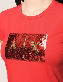 ARMANI EXCHANGE SEQUIN BOX LOGO CREW Logo T-shirt Woman b