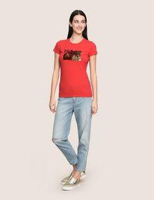 ARMANI EXCHANGE SEQUIN BOX LOGO CREW Logo T-shirt Woman d