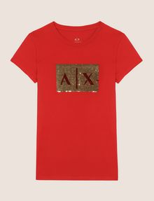 ARMANI EXCHANGE SEQUIN BOX LOGO CREW Logo T-shirt Woman r