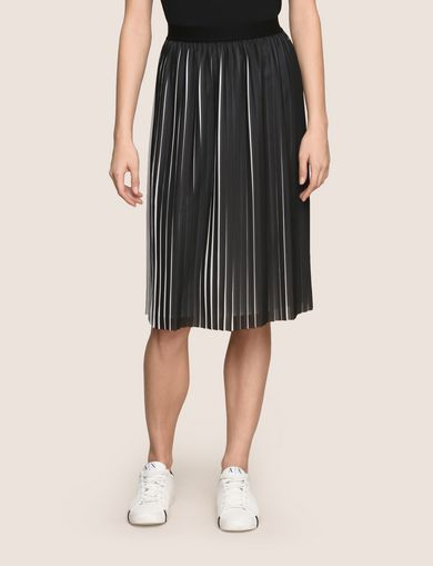 BICOLOR PLEAT MIDI SKIRT