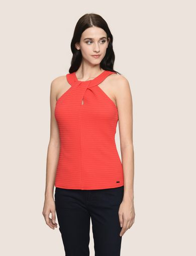 PERFORATED TWIST JACQUARD TOP
