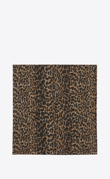 SAINT LAURENT Squared Scarves Woman large square scarf with small leopard print in beige and black etamine a_V4