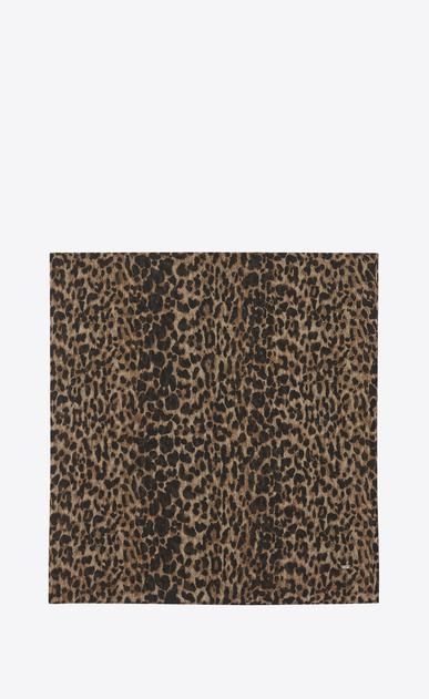 SAINT LAURENT Quadratische Schals Damen großer, quadratischer schal aus beigem und schwarzem etamin mit leopardenprint a_V4