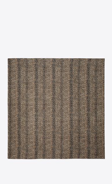 SAINT LAURENT Quadratische Schals Damen großer, quadratischer schal aus beigem und schwarzem etamin mit leopardenprint b_V4