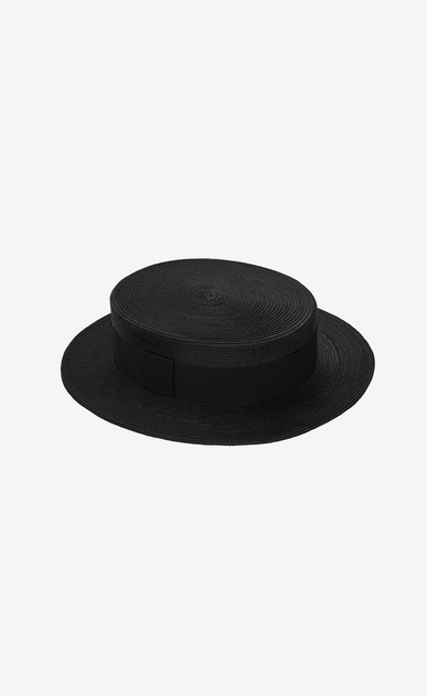 SAINT LAURENT Hats Woman Boater hat in braided straw with a black ribbon a_V4