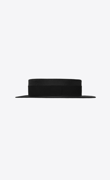 SAINT LAURENT Hats Woman Boater hat in braided straw with a black ribbon b_V4