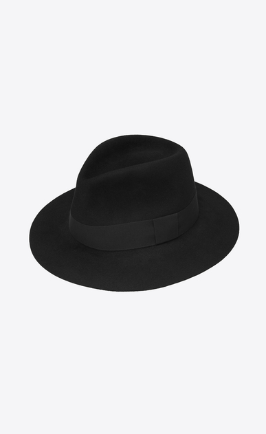 SAINT LAURENT Hats Woman Fedora in soft rabbit felt with black ribbon a_V4
