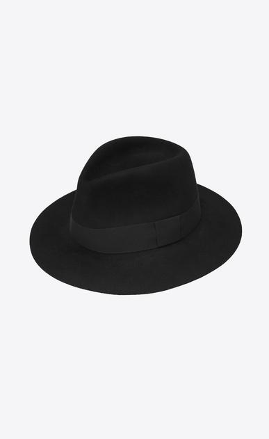 SAINT LAURENT Hüte Damen Fedora aus weichem Kaninchenfell mit schwarzem Band a_V4
