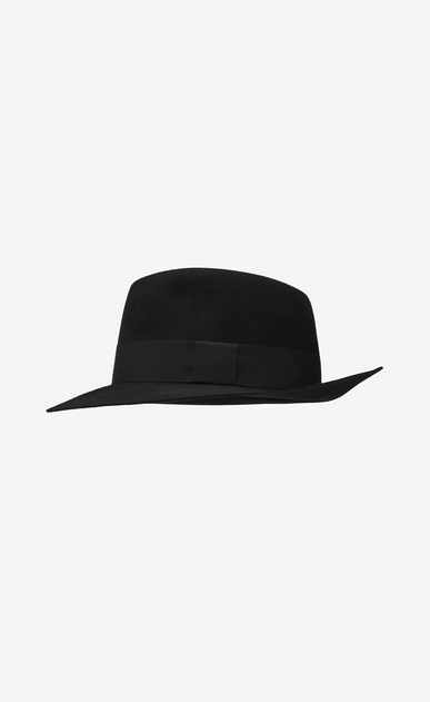 SAINT LAURENT Hats Woman Fedora in soft rabbit felt with black ribbon b_V4
