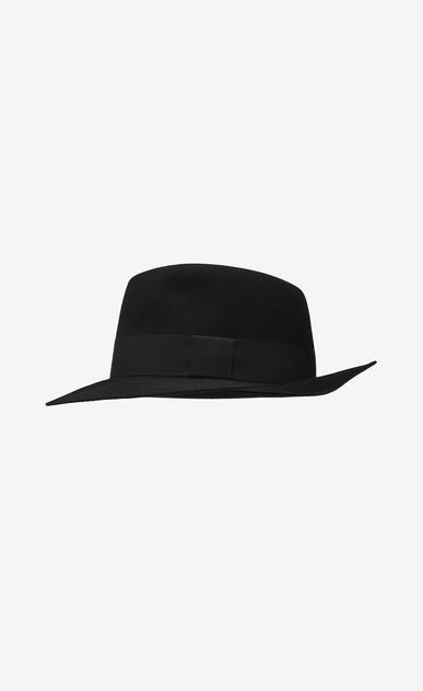SAINT LAURENT Hüte Damen Fedora aus weichem Kaninchenfell mit schwarzem Band b_V4