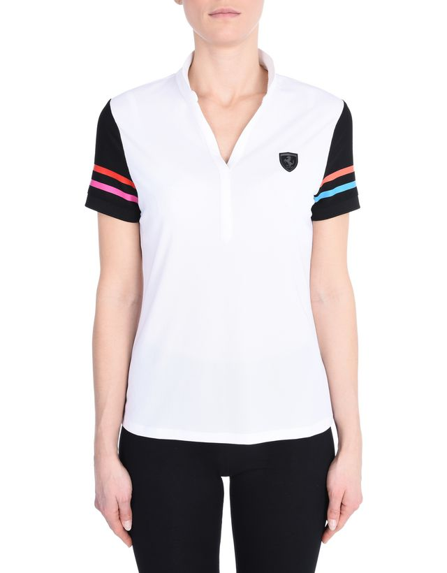 Scuderia Ferrari Online Store - Breathable polo shirt in technical fabric with Shield on the breast - Short Sleeve Polos