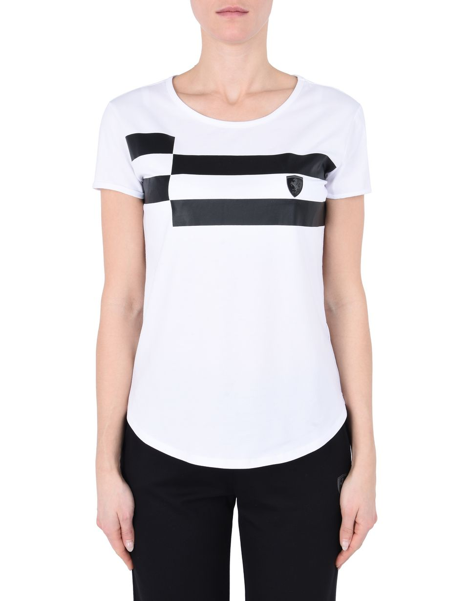 Scuderia Ferrari Online Store - Women's short-sleeve shirt with checkerboard pattern - Short Sleeve T-Shirts