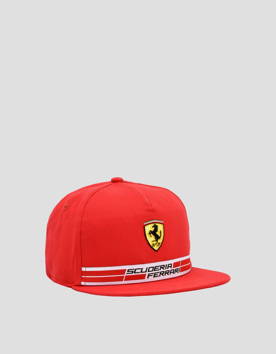 Scuderia Ferrari Online Store - Kid's cotton Scuderia Ferrari cap with Icon Tape -