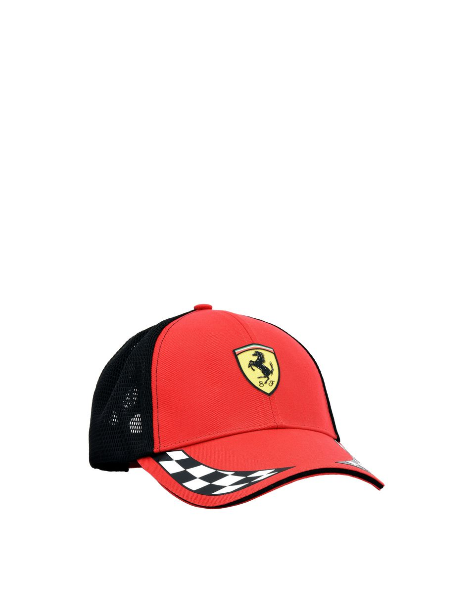 Scuderia Ferrari Online Store - Scuderia Ferrari cap with visor in cotton and technical fabric. -