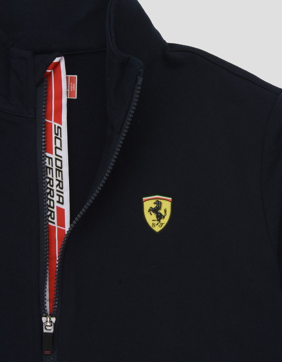 Scuderia Ferrari Online Store - Boys Scuderia Ferrari sweatshirt with Shield Icon Tape - Zip Sweaters